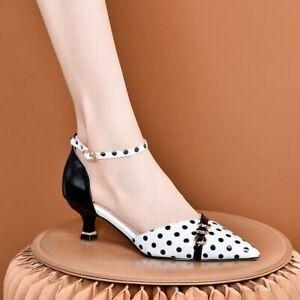 2020 New Polka dot shoes Womens Fashion Pointed Toe Kitten Heels Shoes Wild Shoe