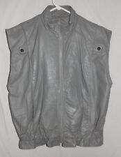 VTG St. Michael Gray 100% Leather Sleeveless Lined Vest Sz 42-44 Made in Israel