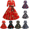 Women Vintage Half Sleeve VNeck Christmas Party 50s Housewife Evening Party Dres