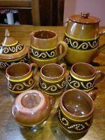 Servizio Thè orientale Marocco terracotta tazze teiera dipinta a mano