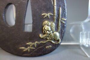 Satsuma Tsuba Japan Samurai bamboo Tiger brass inlay Sword fitting katana w/box