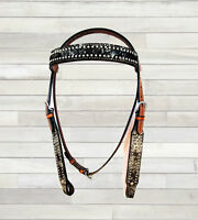 COWGIRL SHOW BLING HORSE TACK BRIDLE HEADSTALL SILVER STUDDED THICK LEATHER