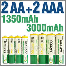 2 AA + 2 AAA 1350mAh 3000mAh 1.2V NI-MH Rechargeable Battery 2A 3A BTY Green