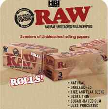 24 RAW ROLLS KING SIZE 3M FULL BOX NATURAL UNREFINED ROLLING PAPERS