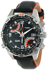 New Timex T49867 IQ Compass Fly Back Chronograph Watch Leather Indiglo Analog