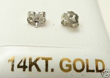 14kt Pure White Gold 2MM Cubic Zirconia Screw Back Stud Earring. 14kt Gold Backs