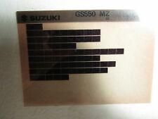 1982 Suzuki Motorcycle GS550 MZ Microfiche Parts Catalog GS 550