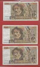 Lot de 3 x 100 FRANCS EUGENE  DELACROIX de 1984 ALPHABETS  F.70  H.70