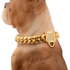 """14mm Strong Gold Lock Stainless Steel Miami Curb Chain Pet Dog Choker Collar 24"""""""