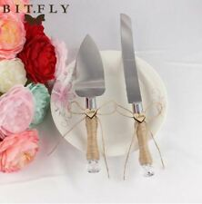 Romantic love just married Stainless Steel Cake Knife Wedding Server Set Rustic