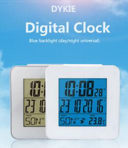 ES Radio Controlled Dual Alarm Clock LCD Digital Calendar Temperature MSF DCF