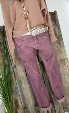 NEU 🍀 LINDSAY ITALY BAGGY BOYFRIEND HOSE👖 PANTS 3 KNÖPFE WASHED BERRY L 40 42