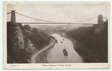 1908 Burgess & Co, B & W RP Postcard of Clifton Suspension Bridge, Bristol, Avon