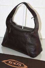 NEW TOD'S Tods Hobo Bag Brown Leather Caviar Shoulder Handbag Logo