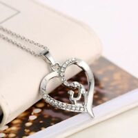 Jewelry Gift Mother's Day Heart Pendant Chain Necklace Love Mom&Baby