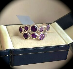 """4.39ct Natural Amethyst Ring 925 Silver Size L 1/2  """"CERTIFIED"""" Exquisite! BNWT"""