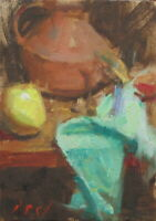 ANFORA w Lemon 5x7 Still Life Oil Painting Day California Impressionist Realism