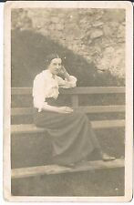 PRIVATE RP POSTCARD A YOUNG EDWARDIAN WOMAN SITTING ON A BENCH C1910