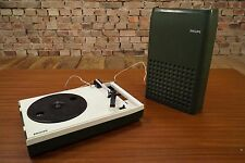 PHILIPS GF 113 PLACA GIRATORIA PORTABLE MALETA VINTAGE 70s Batería WINDUP