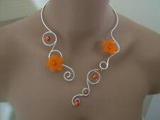 """Collier Orange/""""Argent""""/Argenté robe d Mariée/Mariage/Cérémonie Fleur pas cher"""