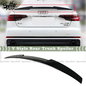 FITS 2017-2021 AUDI A4 & S4 B9 GLOSSY BLACK V STYLE REAR TRUNK SPOILER WING LID