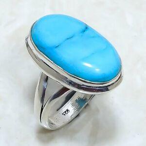 Arizona Turquoise Gemstone Handmade Silver Jewelry Ring Size 9 RRJ7642