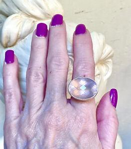 Gorgeous Charles Albert Designer Large Faceted Madagascar Rose Quartz Ring