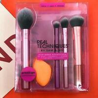Real Techniques Prestige Everyday 5 Pcs Kit Brushes 1 latex Free sponge set new