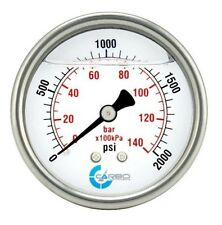 "2.5"" LIQUID FILLED PRESSURE GAUGE 0 - 2000 PSI, STAINLESS STEEL CASE BACK  MOUNT"