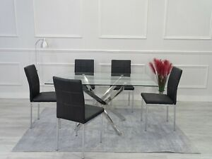 LEONARDO Grey White Chrome Glass Dining Table Set & 6 Faux Leather Dining Chairs