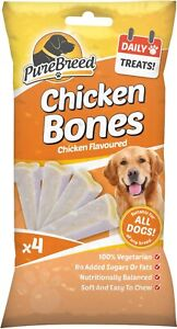 Pack of 4 Pure Breed Chicken soft easy to chew bones shaped treats Vegetarian
