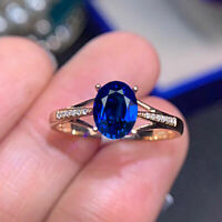 1 Ct Solitaire Oval Cut Blue Sapphire Diamond Engagement Ring 14k Yellow Gold GP