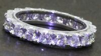 Heavy 18K white gold 1.71CT diamond eternity band ring size 2.5