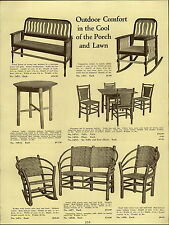 1937 PAPER AD Hickory Furniture Table Chair Settee Woven Cane Bent Wood