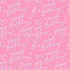 HAPPY BIRTHDAY Pink + Silver Foiled Gift Wrap Sheet or Tag Ladies Wrapping Paper