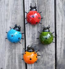 "4 Cute Ladybugs Metal Garden Wall Art Decorative Set Outdoor Bug Sculpture 3.75"""