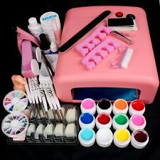 36W Pink Uv Nail Lamp Manicure Shellac Dryer Use For Gel Polish Curing Set#N308