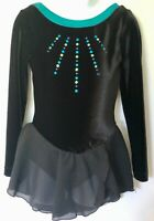 GK BLACK VELVET CHILD SMALL LgSLV FOIL TRIM METAL SEQUIN MESH ICE SKATE DRESS CS