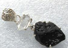 RARITÄT Herkimer Diamant schwarzer TEKTIT Indochinit ANHÄNGER 925 Silber 40x15mm