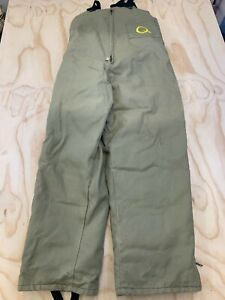 SPORTCHIEF MEN 46 EMBROIDERED Q DOWN + FEATHER INSULATED BROWN SNOW OVERALLS