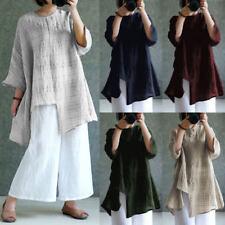 Plus Size Womens Vintage Cotton Linen 3/4 Sleeve Casual Tops Check Blouse Shirt