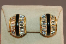 Shimmering Christian Dior Signed Vintage Baguette Rhinestone & Enamel Earrings!