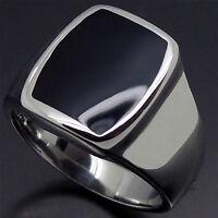 Men's Women's Silver Stainless Steel Ring Elegant Black Polish Enamel Size 8-12