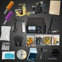 Complete Pro 2 Machine Gun Tattoo Needle Equipment Kit Tips Power Supplies Set