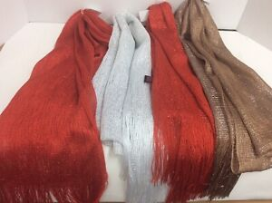 Lot 4 Womens Kimberly C Scarf sparkly Soft Acrylic Knit Fringed red gold white