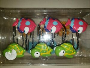 SOMETHINGS FISHY NEW NWT SHOWER HOOKS CRABS FISH TURTLES SILVER RINGS CUTE!