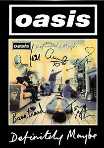 """OASIS DEFINITELY MAYBE - SIGNED  PICTURE CANVAS WALL ART 24""""X18"""""""