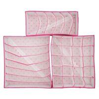 3x Underwear Divider Organizer Socks Ties Bra Lingerie Storage Box Rose Red P7S2