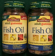 Lot of 2 NATURE MADE Adult Fish Oil Gummies, Assorted Flavors 150ct Exp:6/2020