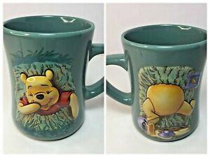 Disney Store Winnie the Pooh Green Raised 3-D Coffee Mug Cup 4.75 inches tall